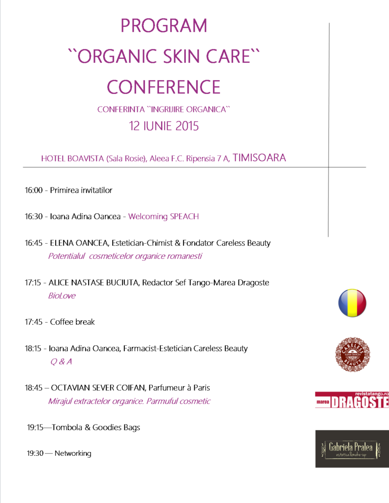 Conferinta Ingrijire Organica by Careless Beauty 12.06.2015 - program