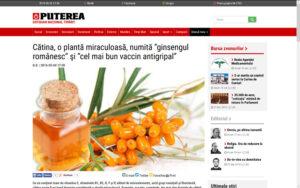 Puterea.ro o citeaza pe Ioana Adina Oancea - manager Careless Beauty in articolul Catina - o planta miraculoasa